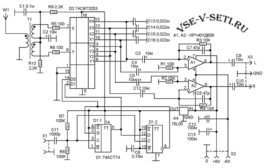 преобразователем частоты на основе мультиплексора 74СВТ3253