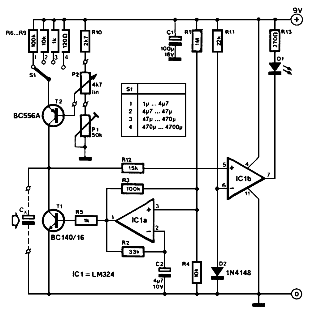 Тестер электролитических конденсаторов