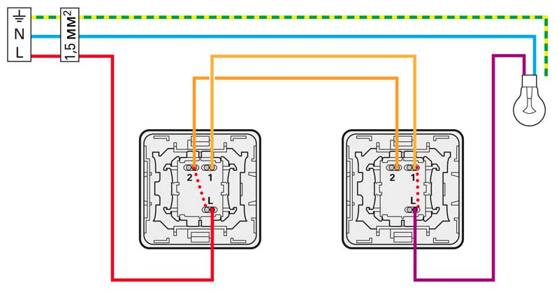 Схема управления освещением из двух мест