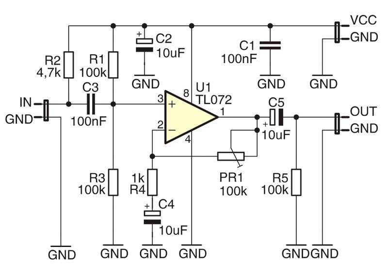 Принципиальная схема миниатюрный микрофонный усилитель