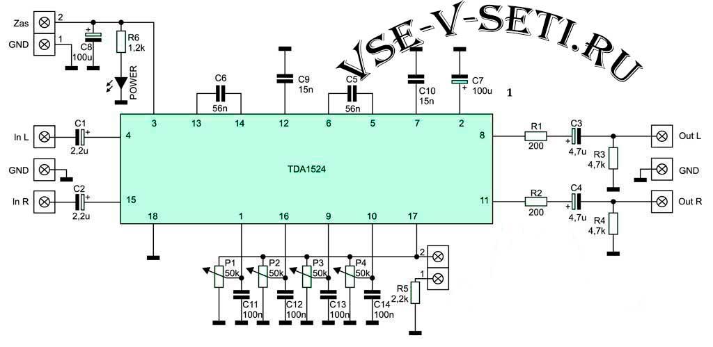 схема предварительный усилитель на TDA1524A