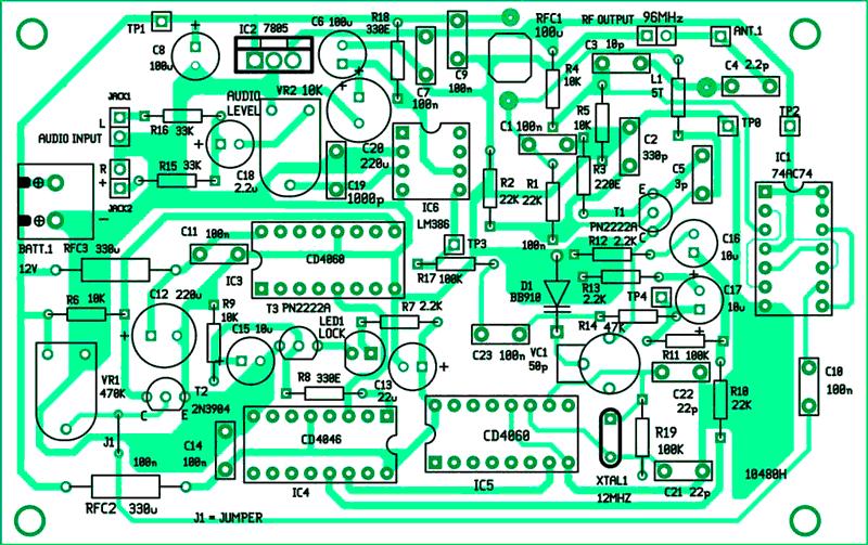 Расположение компонентов на печатной плате высококачественный FM-передатчик