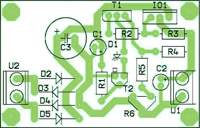 Расположение компонентов зарядное устройство на стабилизаторе LM350N