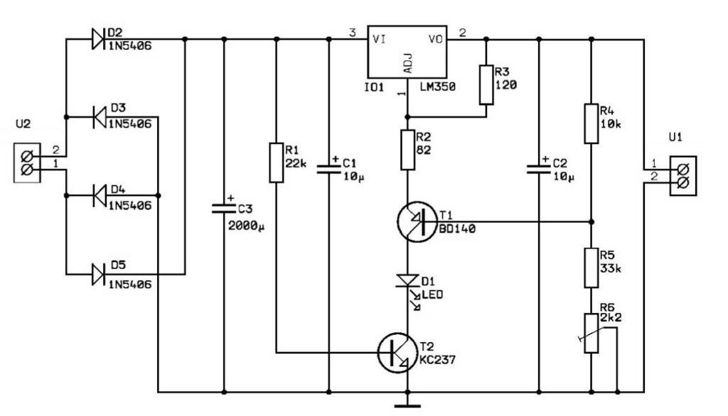 Зарядное устройство на стабилизаторе LM350N