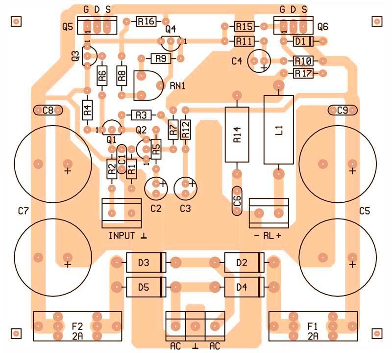 Печатная плата простой усилитель на транзисторах