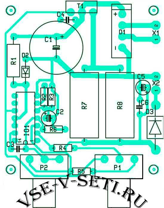 Расположение компонентов на плате линейный стабилизатор напряжения с защитой