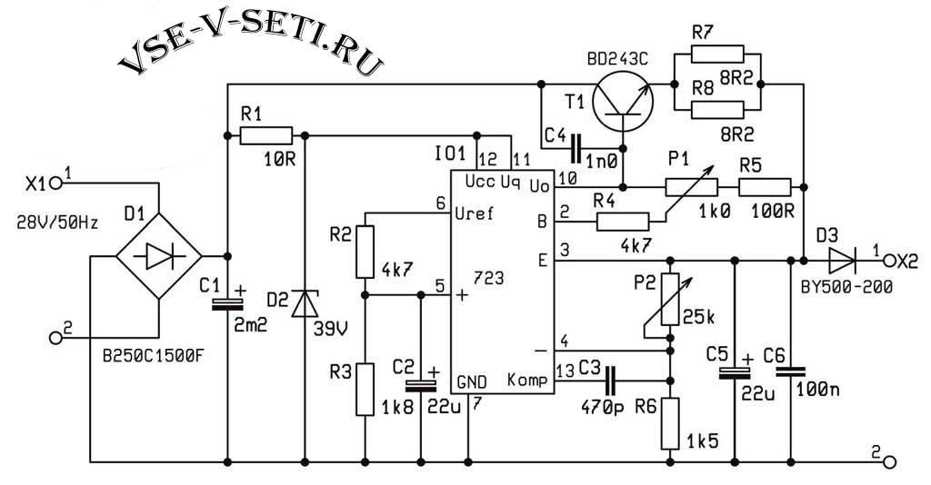 Принципиальная схема линейный стабилизатор напряжения с защитой