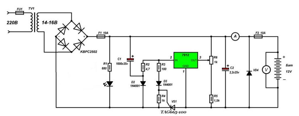 Принципиальная схема зарядки