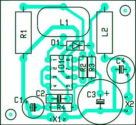 Расположение компонентов на печатной плате преобразователи напряжения на MC34063 на 100мА