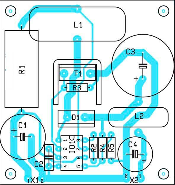 Расположение компонентов на преобразователь 1,5А
