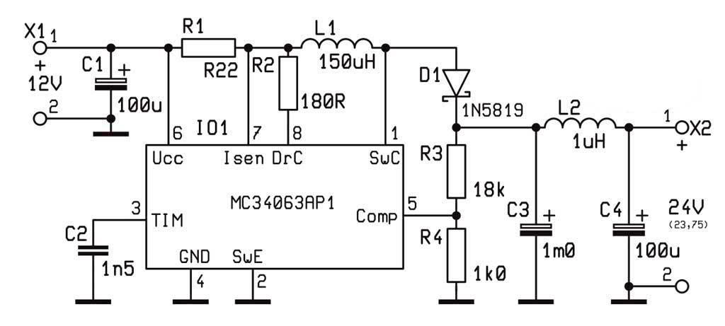 Схема преобразователи напряжения на MC34063 на 100ма