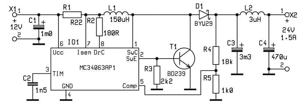 Схема преобразователи напряжения на MC34063 на 1,5А