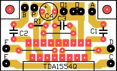 Внешний вид печатной платы стереоусилитель на микросхеме TDA1554