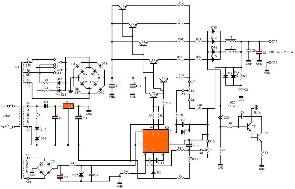 Принципиальная схема лабораторный блок питания 0 – 30В 10А