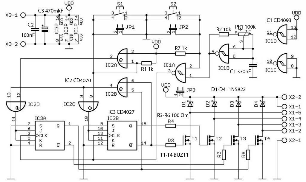 Принципиальная схема драйвер для униполярных шаговых двигателей